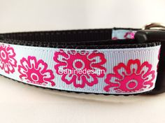 ❤️ the colors on this collar. Dog Collar Shocking Flowers 1 inch wide adjustable by caninedesign