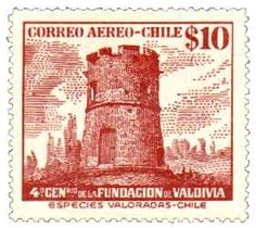 Sello: Old Fort (Chile) anniversary of the founding of Valdivia) Mi:CL 418 Old Fort, Argentine, Interesting Buildings, Animals Images, Postage Stamps, South America, Ephemera, Vintage World Maps, Childhood