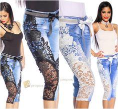 Luxus Capri Jeans Spitze Handarbeit Extravagant Weiß Blau Denim 34, 36 Apropos