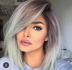 beautiful, brown eyes, girl, grey, grey hair, lipstick, makeup, shadow, short hair