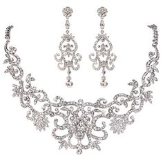 EVER FAITH Wedding Silver-Tone Flower Art Deco Jewelry Set Clear Austrian Crystal *** Awesome product. Click the image : Jewelry Sets