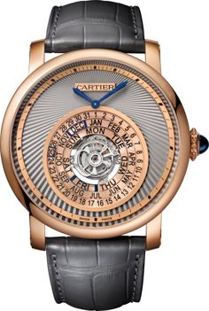 Rotonde de Cartier watch 45 mm, automatic, 18K pink gold, leather