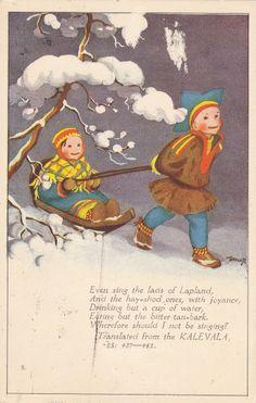 Martta Wendelin' Luge, Christmas Images, Vintage Christmas, Christmas Cards, Lapland Finland, Nostalgic Images, Camping Gifts, Vintage Images, Kids Playing