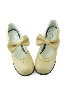 b7a8c0ac840 Cream Low Heel Bow Lolita Shoes Small Heel Shoes