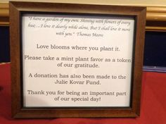 Sign for Mint/plant favors and donation