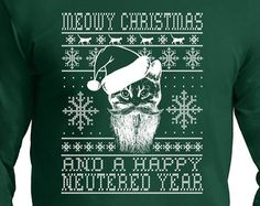 Ugly Christmas Sweater Design,cat lover, Long Sleeve t- shirt,Comes in Sweat Shirt also , Christmas Gift,ugly  Christmas t shirt,  cat lady