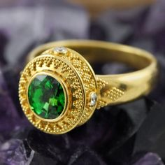 Solid genuine 22K yellow GOLD ring set with TSAVORITE gemstone, Diamonds and decorated with Bali granulation work $3980