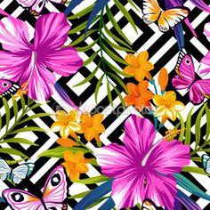 Kelebek ve çiçek ile Seamless Modeli — Stok İllüstrasyon #79912778