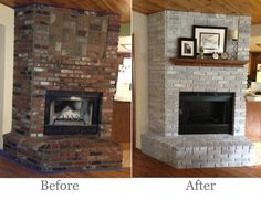My DIY fireplace makeover. Step one: Scrub the entire fireplace (it had a lot of soot) Used equal parts vinegar & water and a rag. Step two: Mix equal parts of white latex paint and water. Step three: Paint! Brush on paint and wipe off excess. Did mostly one coat (two on some darker bricks) Last Step: Painted inside with heat resistant black paint. This should have been the first step, but I protected the brick well and it worked. Done!!!