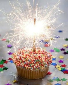 Birthday-sparklers for candles on a cupcake with sprinkles. Happy Birthday Images, Happy Birthday Greetings, Birthday Pictures, Birthday Messages, Happy Birthday Me, It's Your Birthday, 60th Birthday, Birthday Quotes, Happy Birthday Sparkle