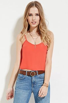 Buy it now. FOREVER21 Women's  Boxy Cropped Cami. Cami,Boxy,Cropped,Semi sheer , topcorto, croptops, croptops, croptop, topcrop, topscrops, cropped, bailarina, topbailarina, corto, camisolacorta, topcortoestilobandeau, crop, bralet, strappybralet, bandeautop. Red FOREVER21  crop top  for woman.