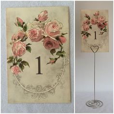 Vintage Style Wedding Table Numbers Names Cards - Shabby Chic Pink Flower Rose