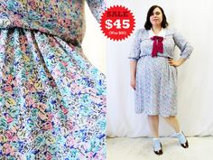 CLEARANCE  Plus Size  Vintage Floral Chiffon Neck by TheCurvyElle, $45.00