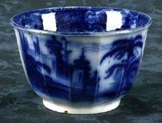 Flow Blue Fourteen Sided, Panelled Waste Bowl. Calcutta Pattern by E. Challinor (Circa 1845)