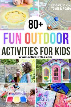 80  Fun Outdoor Activities for Kids - Active Littles Water Play Activities, Outside Activities For Kids, Outdoor Activities For Toddlers, Summer Activities For Kids, Sensory Activities, Outdoor Learning, Outdoor Fun, Craft Ideas, Crafts