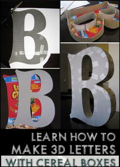 Learn How to Make Big Letter Decor Using Cereal Boxes<br> How To Make Letters, Big Letters, How To Make Box, Diy Letter Boxes, Letter A Crafts, Paper Mache Crafts For Kids, Cardboard Letters, Cereal Boxes, Diy Box