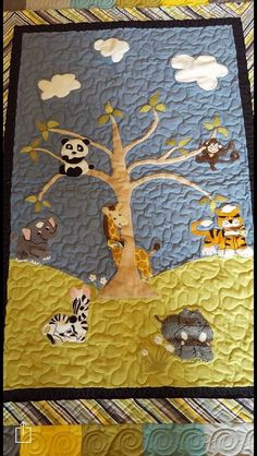 Zoo Animal Baby Quilt, hand designed with Bow Ties for our newest Grandson to arrive in September.