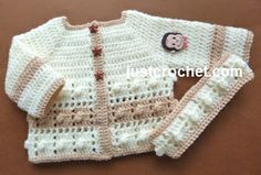 Free baby crochet pattern for popcorn square coat & headband http://www.justcrochet.com/coat-headband-usa.html #justcrochet