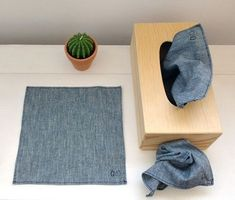 Chambray fabric handkerchief You are in the right place about Zero Waste beauty Here we offer you th Reduce Reuse, Reuse Recycle, Upcycle, Reduce Waste, Zero Waste, Kleenex Box, Sewing Box, Green Life, Sustainable Living
