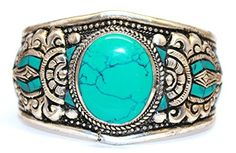 Boho Bracelet Turquoise Bracelet Nepal Cuff Bracelet Tibetan Bracelet Nepal Bracelet Tibet Bracelet by goldenlines -- Awesome products selected by Anna Churchill