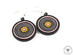 Paper Dangle Earrings - Paper quilling Jewelry - Eco Friendly Jewelry - Pink Black Earrings - Round earrings - gift under 20