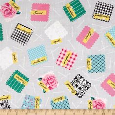 Designed by Cynthia Frenette for Robert Kaufman, this cotton print is perfect for quilting, apparel and home décor accents. Colors include black, pink, white, green, blue and yellow.