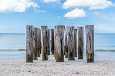 A grouping of old wooden columns on the beach in Naples, Florida. || #AlexTonettiPhotography #Photography