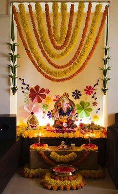 Gauri Decoration, Mandir Decoration, Ganpati Decoration Design, Ganapati Decoration, Diwali Decorations At Home, Festival Decorations, Flower Decorations, Wedding Decorations, Wedding Ideas