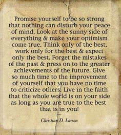 Promise yourself to be so strong that nothing can disturb your peace of mind. @Julia Lashley  ...getting there day by day - petty people will criticize and attempt to drag you down to their level - it's not going to work!