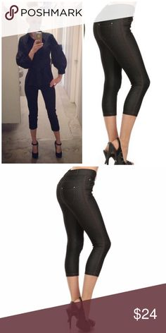 """Black Skinny Capri Jeggings Basic 5 pocket Capri Jegging with non functional button& zipper closer  66% cotton, 27% poly, 5% spandex   Tags say large but fits an extra large very stretchy material.   L/XL Waist 39.75""""/ hip 36""""/ front rise 10.5""""/ back rise 14"""" Boutique Pants Capris"""
