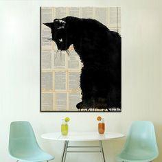 Tamanho grande Pintura A Óleo de Impressão de Um gato preto Parede pintura Retrato Da Arte Da Parede Para Sala de estar pintura Sem Moldura Steampunk em Pintura & Caligrafia de Home & Garden no AliExpress.com   Alibaba Group