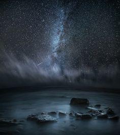 Night Ocean and Black Sky