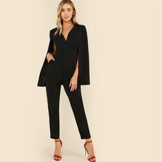 cf440eecf1ef Party Elegant Wrap Plunging V-Neck Cloak Long Sleeve High Waist Maxi Women  Jumpsuit - Black