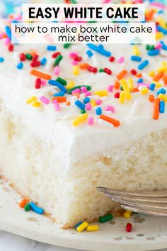 Our family loves this recipe for easy white cake! The vanilla cake turns out so moist and flavorful, gets tons of compliments each time I make it, plus no one knows it's a box cake mix recipe! Learn our tips for how to make a box cake taste homemade. Cake Mix Recipes, Frosting Recipes, Cupcake Recipes, Yummy Recipes, Cupcake Cakes, Dessert Recipes, Cupcakes, Homemade Birthday Cakes, Homemade Cakes
