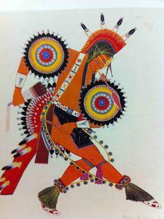 """Modern Dancer"", 1937 By *Allen Busyhead* from Cheyenne 1917-1991 Watercolor"