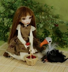 Runa, strawberries and a little vulture (BJD by miradolls)