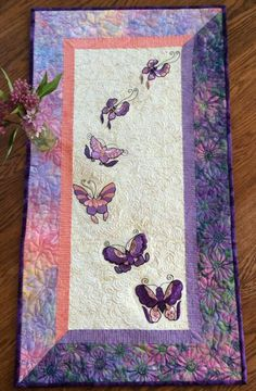 Advanced Embroidery Designs Quilted Tablerunner With Erfly