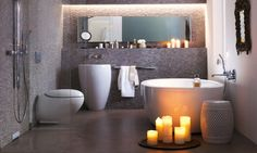 Every Small Bathroom Can Become Bigger : Small Space Bathroom Decor. Romantic Bathrooms, Modern Small Bathrooms, Small Space Bathroom, Modern Bathroom Design, Beautiful Bathrooms, Bathroom Interior, Bathroom Designs, Small Rooms, Small Spaces