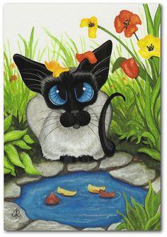 amylyn bihrie siamese cat art | Falling Petals by AmyLyn Bihrle