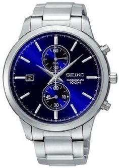 Relógio Seiko Chronograph Metallic Blue Dial Stainless Steel Mens Watch SNN273  #Relogio #Seiko