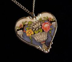 Heart pendant made from a broken antique plate by Dishfunctional Designs