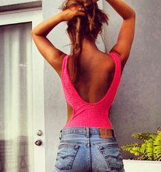 hot pink. tan. levis.