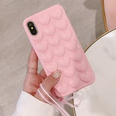 Cute Candy Color Phone Cases For iPhone X Case 3D Love Heart Soft TPU Back Cover Coque For iPhone 10 Fitted Cases with Lanyard #iphone10,