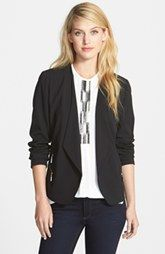 Vince Camuto Collarless Double Zip Pocket Jacket
