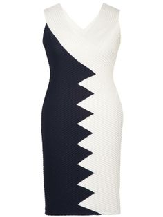 Navy/Ivory Contrast Panel Pintuck Jersey Dress