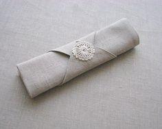 Napkin rings of natural linen fabric with linen yarn by daiktuteka,