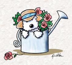 Title:  Garden Helper Westie  Artist:  Kim Niles  Medium:  Drawing - Digital Illustration