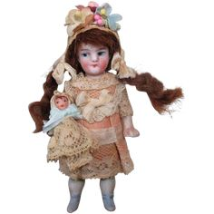 """Cute Little 3 1/2"""" All Bisque Miniature German Dollhouse doll & Baby dolly"""