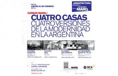 MARQ | CUATRO CASAS, CUATRO VERSIONES DE LA MODERNIDAD ARGENTINA  El Museo de Arquitectura y Diseño de la SCA, invita al ciclo de charlas que se realizará el próximo jueves 23 de febrero a partir de las 18.30 horas.  Más info: http://ly.cpau.org/2kG2B1p  #AgendaCPAU #RecomendadoARQ #Capacitación