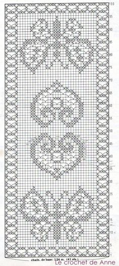 grille-chemin-de-table-coeur-et-papillon. Marque-pages Au Crochet, Filet Crochet Charts, Fillet Crochet, Crochet Motifs, Crochet Home, Thread Crochet, Crochet Crafts, Crochet Doilies, Crochet Stitches